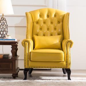 美式乡村皮艺老虎椅欧式小户型客厅卧室单人沙发酒店办公室高背椅