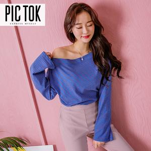 韩国代购女装春秋新款纯棉条纹上衣韩版洋气显瘦个性斜肩T恤TS018