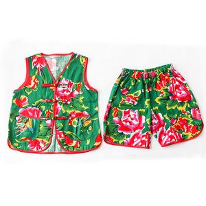 18年夏季新款儿童花布?#24188;?#22871;件大褂服饰宝宝民族服饰宝宝肚兜