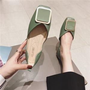 绿色单鞋女平底方头春秋欧洲站瓢鞋百搭软底鞋大码网红漆皮豆豆鞋