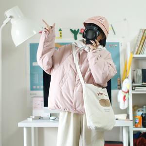 幼稚商店日系可拆卸系帶領軟妹可愛棉衣女秋冬學生甜美薄款面包服