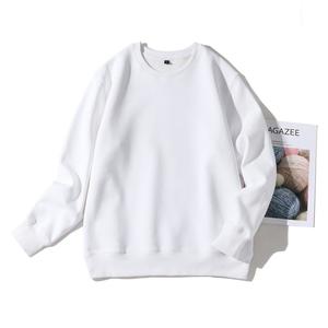 圓領衛衣秋無帽 寬松青少年學生純色長袖歐美套頭純白色潮打底衫