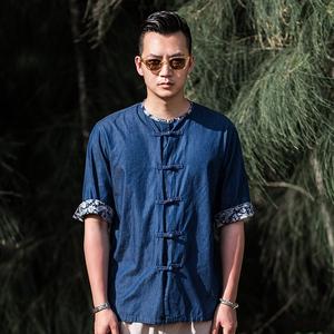 有鲤很仙的衬衣中国风设计感夏季复古个性时尚唐装男装短袖衬衫男
