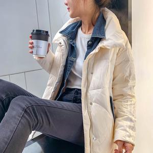 胡月明定制 镜花水月 外套女冬季中长款显瘦拼接牛仔假两件羽绒服