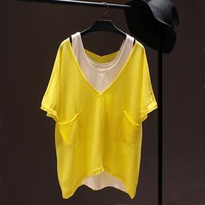 正品SZstyle by shez sz宽松显瘦T恤中长款两件套V领纯棉短袖女潮