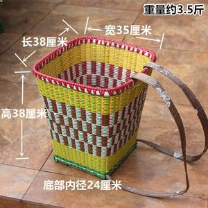 四川竹編背篼方形竹背簍竹背筐夾背塑料背篼成人家用背重物加固款