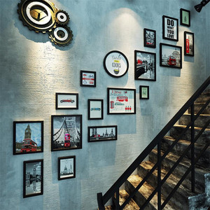 客厅墙上装饰画楼梯墙面挂画复古欧式壁画组合风景画走廊过道墙画