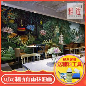 东南亚风格热带雨林壁画手绘森林油画墙纸餐厅背景墙火烈鸟壁纸