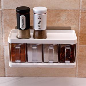 厨房盐糖调料盒壁挂式抽屉式味精调味品收纳盒四格一体家用免打孔