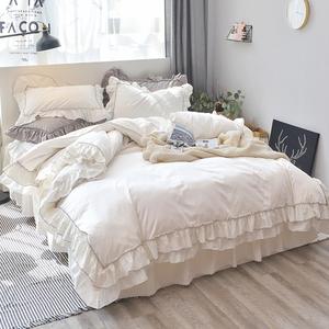 北歐純棉白色全棉床上用品四件套ins床單被套公主風床裙款少女心4