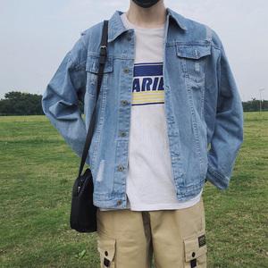 破洞牛仔外套男韩版潮流春秋季复古帅气牛仔衣宽松夹克帅气牛仔褂