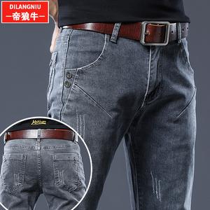 灰色牛仔裤?#34892;?#36523;小脚长裤子2019韩版潮流弹力直筒秋季男士休闲裤