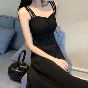 原宿輕熟風氣質洋氣裙子日系溫柔風吊帶連衣裙超仙女桔梗初戀森系