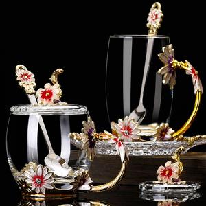 家用珐琅彩水杯花茶杯珐琅杯玻璃杯子菊花创意礼品杯礼物对杯女