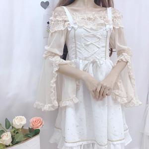 日系软妹洛丽塔蕾丝打底Lolita内搭一字领姬袖喇叭袖雪纺衫上衣女