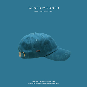 夏季帽子男潮牌軟頂彎檐鴨舌棒球帽顯白藍色ulzzang遮陽帽子男女