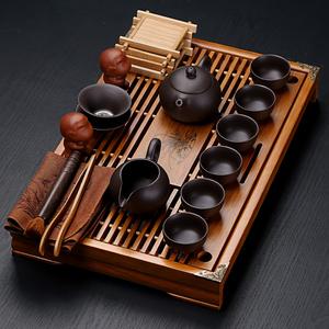 紫砂陶瓷功夫茶具套装家用茶杯简约办公实木小茶盘抽屉式茶台整套