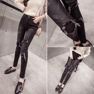 高腰牛仔褲女冬季加絨薄絨韓版顯瘦百搭黑色假破洞九分緊身小腳褲