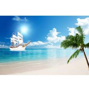 大海风景贴画海报 海边风景挂画地中海壁画一帆风顺装饰墙画芯