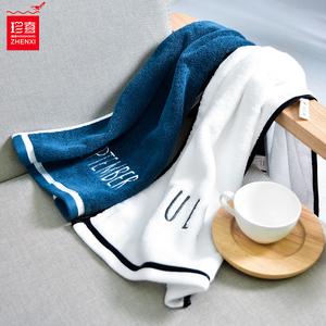 2條洗臉毛巾純棉創意一對情侶款男女家用藍色洗澡吸水不掉毛帕子