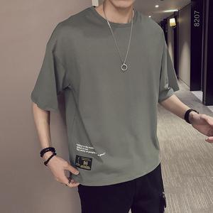 短袖男潮牌t恤2019夏季简约上衣韩版潮流打?#21672;?#38738;少年半袖体恤衫