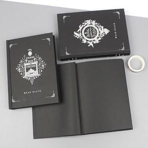 網紅本子黑紙黑色黑底筆記本黑頁純黑紙張的本活頁黑卡手繪紀念冊