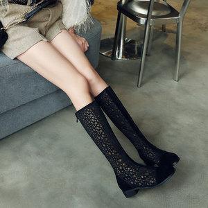 2021春季新款透气镂空网靴百搭黑色高筒靴低跟夏季女靴大码40-43