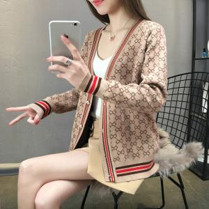Mouxiu/魔袖春裝針織開衫女2019春新款韓版寬松單排扣外套毛衣潮