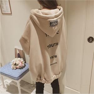 原宿bf風外套韓版學生中長款寬松衛衣女加絨加厚冬2020新款棒球服