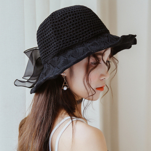 韩版波浪荷叶边粉色编织渔夫帽女春夏季出游盆帽凉帽藏青色太阳帽
