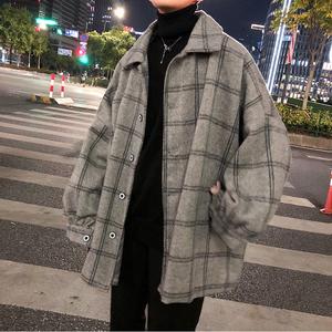 ins冬季外套男韓版潮流呢子港風中長款格子風衣秋冬男裝毛呢大衣
