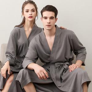 长袖情侣睡袍春夏季纯色加长款女浴袍浴衣男大码长袍夏季睡衣