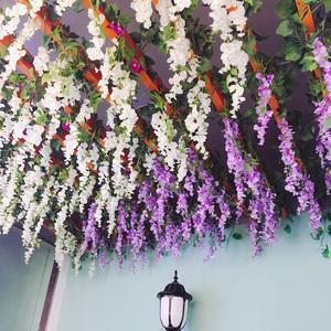 仿真紫藤紫羅蘭長款垂吊櫻花假花房頂綠葉子吊頂塑料花藤條藤裝飾
