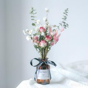 玫瑰干花 北欧风家居装饰摆件尤加利真花 ins网红小清新 礼品花束