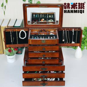 韓米琪大號復古實木首飾盒木質公主歐式韓國多層手飾品首飾收納盒