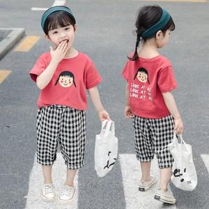 女童夏裝短袖套裝純棉兒童短褲兩件套女童中小童格子褲七分褲新款