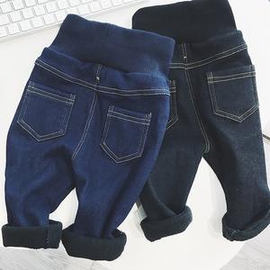 女宝宝加绒牛仔裤