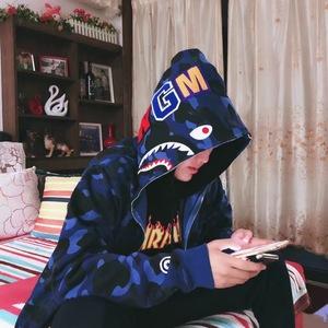 秋冬街头潮牌经典拼接连帽鲨鱼迷彩外套嘻哈男女宽松开衫情侣卫衣