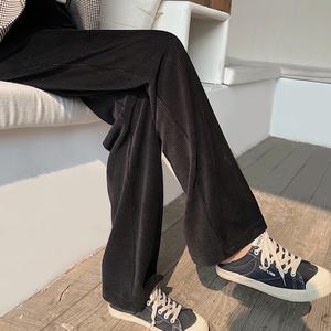 灯芯绒阔腿裤女秋冬高腰坠垂感宽松黑色条绒直筒显瘦加厚拖地长裤