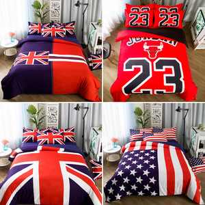 個性創意男士三件套球隊床單美國旗英國旗被套米字旗英倫風四件套