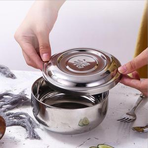 不銹鋼雙層碗帶蓋福字碗隔熱碗韓國烤肉店專用碗定制LOGO刻字