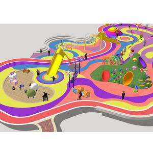 现代景观儿童游乐设施器械乐园运动游乐园活动中心游戏场地su模型