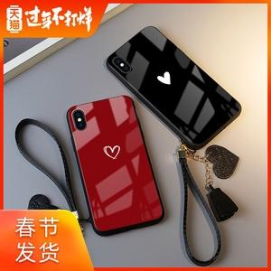蘋果x手機殼愛心iphone 11 pro玻璃鏡面7plus個性iPhone7女8plus情侶潮6s全包xs max防摔xr抖音同款網紅6plus