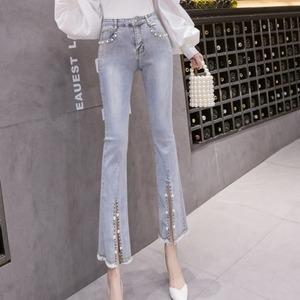 薄款高腰牛仔裤女2021夏季新款阔腿喇叭裤修身显瘦小个子九分裤潮