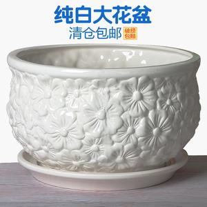 白色陶瓷花盆大口径特价特大号清仓带托盘简约多肉盆栽绿萝花盘