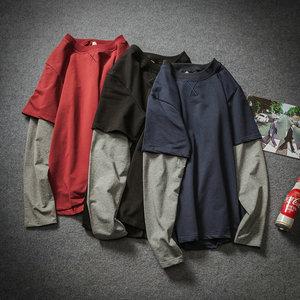 秋裝潮牌假兩件長袖t恤男裝加肥加大碼內搭打底衫韓版胖子上衣服