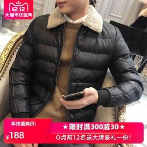 男冬季外套韓版潮流帥氣短款羊羔毛領皮棉襖加厚棉服冬裝PU皮棉衣