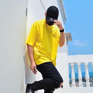 夏季圆领T恤男短袖工装有带口袋潮流宽松薄款冰丝滑料短衫大码潮