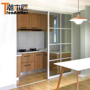 細邊框白色格子輕鋁合金隔斷窗廚房陽臺吊滑門上海老鋼窗推拉移門
