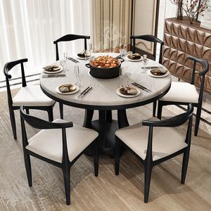 北歐大理石餐桌圓桌帶轉盤家用現代簡約ins圓形實木臺面吃飯桌子